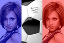 2 photos of flag of France in the Euro Fooball