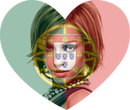 Flag heart shaped Portugal with personalized picture