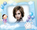 Child frame Little girl Cloud Mail Love letters