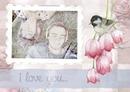 Álbum de recortes con el pájaro, flores de color rosa y el texto