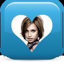 Corazón ♥ Botón azul Transparente