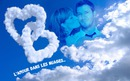 Heart shaped clouds of love with text
