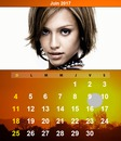 Calendar June 2017 with customizable photo