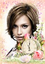Laikrodis ir gėlės