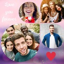 Drop-shaped collage 4 photos with customizable text
