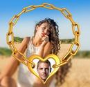 จี้หัวใจ 2 ภาพถ่ายที่มีภาพเบลอ