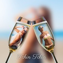 2 glasses of champagne on blurred background with customizable text