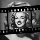 Film strip on a blurred background