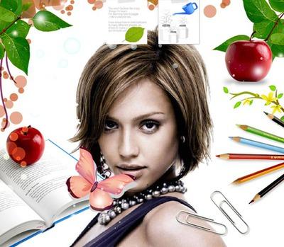 Manzana Mariposa Lápices Libro