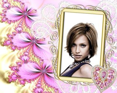 Marco dorado Corazón de diamantes rosa Flores