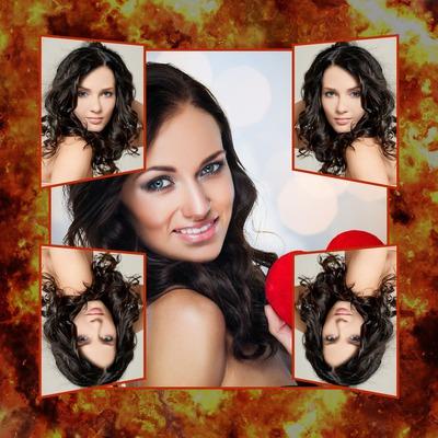 Colaje de fuego 5 fotografías selfie