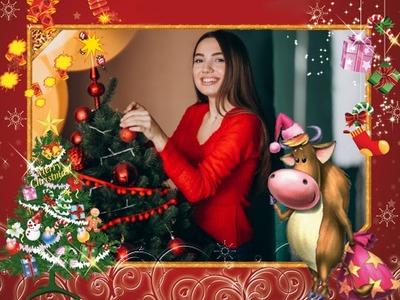 Navidad Vaca Abeto
