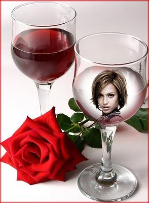 Copa de vino Rosa rojo