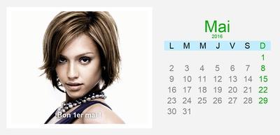 Calendario Mayo con foto y texto