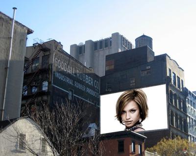 Cena painel publicitário prédio Nova Iorque USA