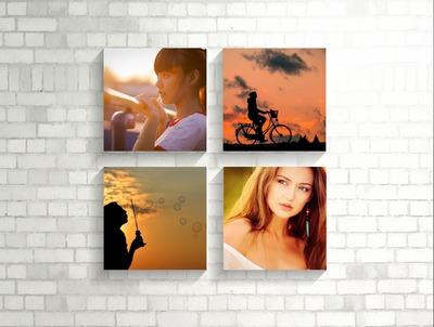 4 fotos que cuelgan en una pared blanca