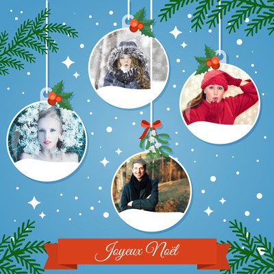 4 globos de nieve de la Navidad con el texto adaptable
