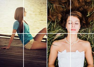 2 fotos con líneas de cuadrícula y líneas blancas