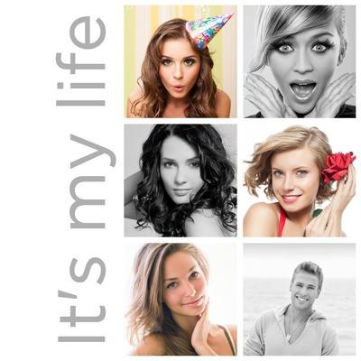 Collage de 6 fotos + texto vertical