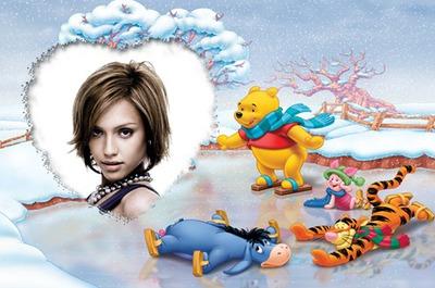 Marco infantil ♥ Winnie Invierno Pista de patinaje