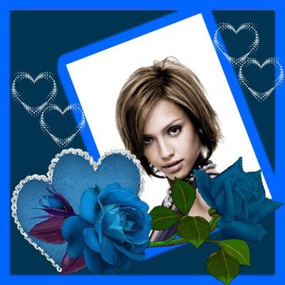 Marco azul Corazones Rosa