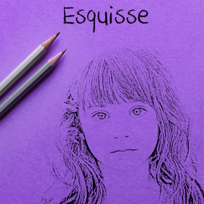 Tegning på arket fiolett
