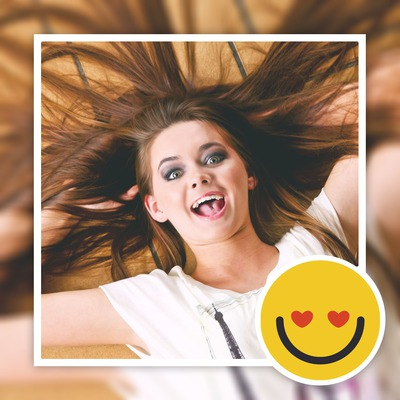 Photo floue avec smiley personnalisable