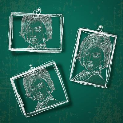 3 fotografias en un cuadro verde