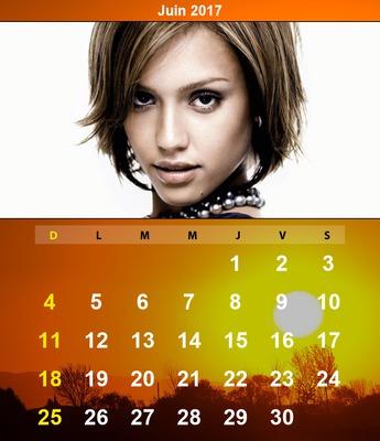 Calendario de junio de 2017 con la imagen personalizable