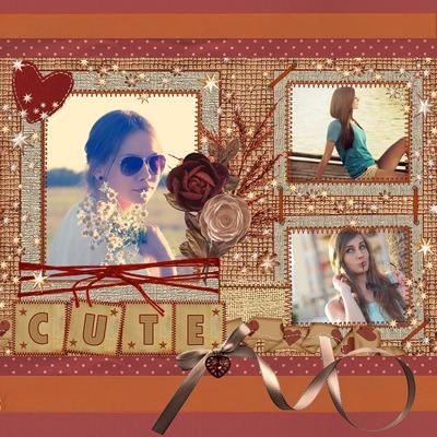 Scrapbooking CUTE 3 photos avec cœurs et fleurs roses