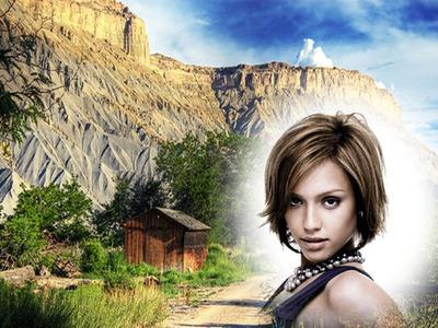 Montaje fotografico paisaje montaña cabaña de madera   pixiz