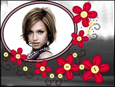 Flores rojas Botones