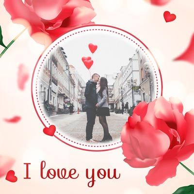 Peonías y rosas alrededor de pequeños corazones románticos