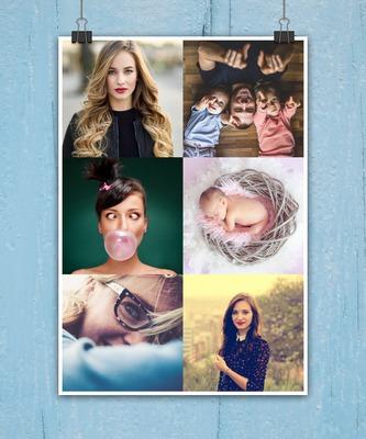 Collage 6 foto appesa sfondo personalizzabile