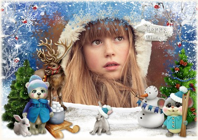 Ciervos del invierno del muñeco de nieve