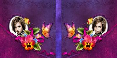 Cubra el libro con las flores violetas y mariposas
