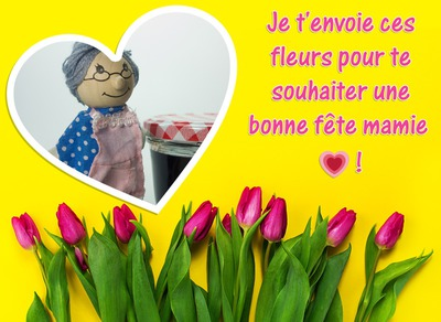 Flowers with heart and text