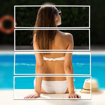 La unión de una imagen con rayas horizontales
