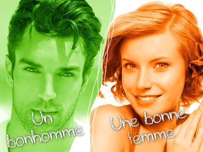 Hombre Mujer Verde y naranja 2 fotos