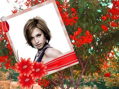 Polaroid Ramo de flores rojas