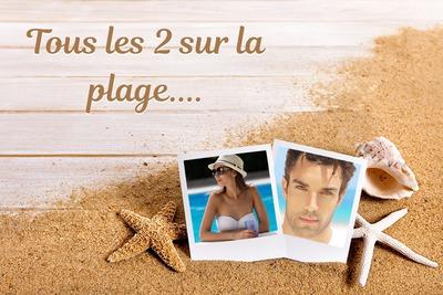 2 polaroidy na plaży z tekstem konfigurowalny