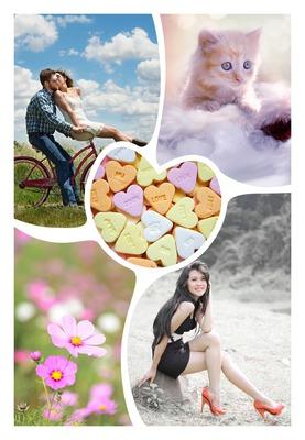 corazón Collage 5 fotos