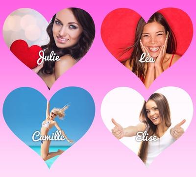 4 corazones en fondo degradado rosa