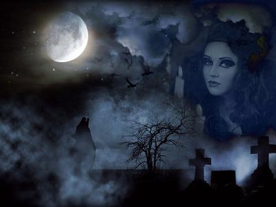 Montage photo cimeti re halloween loup pixiz for Fenetre qui fait peur