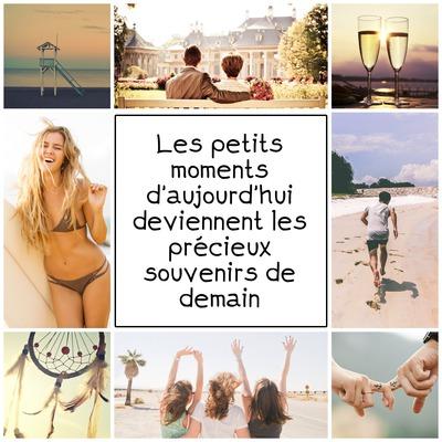 Collage 8 fotos texto en el centro
