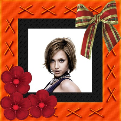 Red frame Flowers and bow