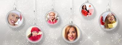 cubierta de Facebook con 6 bolas de Navidad