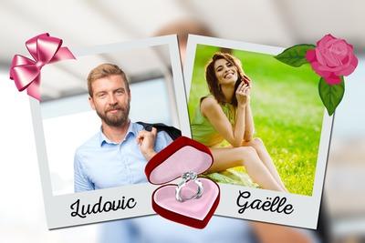 Colagem 2 polaroids com casamento texto