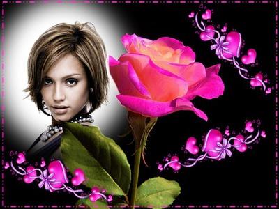 Rosa y corazones