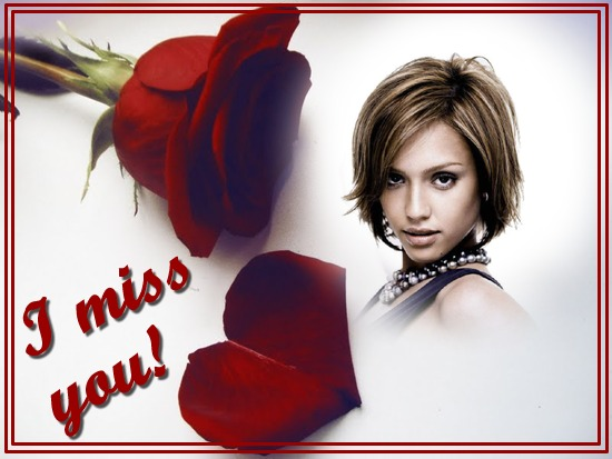 Photo montage Red rose I miss you - Pixiz